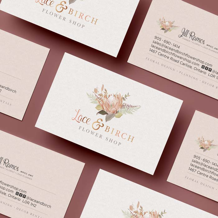 Lace and Birch Business Card Design